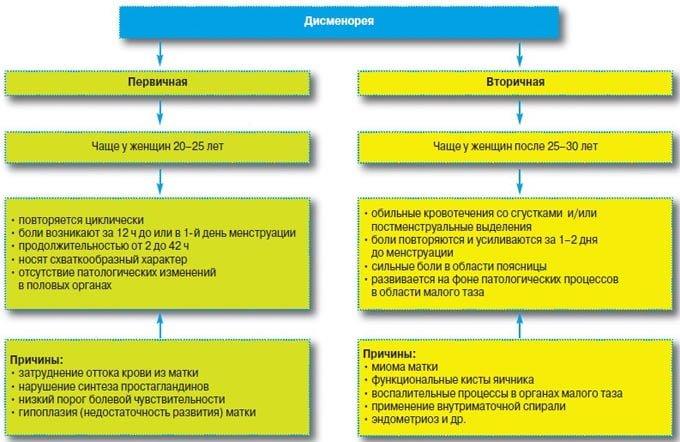степени дисменореи